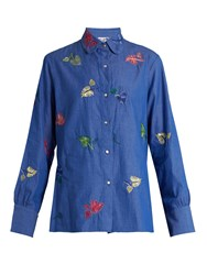 Thierry Colson Arthur Leaf Embroidered Cotton Shirt Blue Multi
