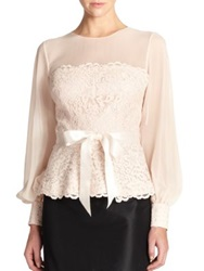 Teri Jon By Rickie Freeman Lace Chiffon Blouse Blush