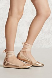 Forever 21 Lace Up Metallic Ballet Flats Rose Gold