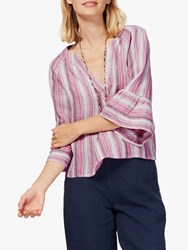 Brora Stripe Linen Blouse Raspberry