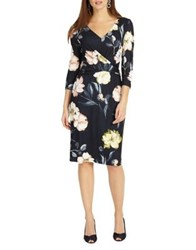 Phase Eight Marina Floral Sheath Dress Navy