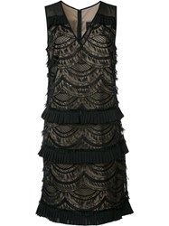Nicole Miller Layered Lace Dress Black