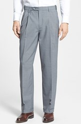Men's Big And Tall Berle Self Sizer Waist Pleated Trousers Light Grey