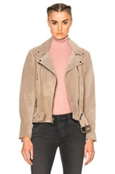 Theperfext London Belted Suede Moto Jacket In Neutrals