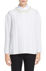 Simone Rocha Cable Knit Sweater With Jeweled Neckline Cream Pearls