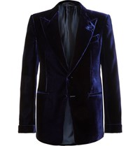 Tom Ford Blue Shelton Slim Fit Velvet Tuxedo Jacket Navy