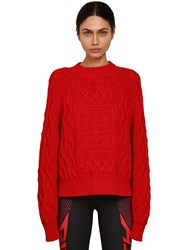 Givenchy Logo Cotton And Wool Blend Knit Sweater Red