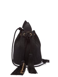 Saint Laurent Anja Braided Cord And Leather Bucket Bag Black