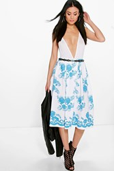 Boohoo Border Lace Print Box Pleat Skater Skirt Ivory