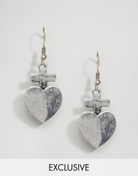 Reclaimed Vintage Heart Earrings Silver
