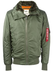 Alpha Industries Furred Collar Parka Coat Green