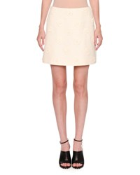Valentino Daisy Crepe Couture Skirt Ivory
