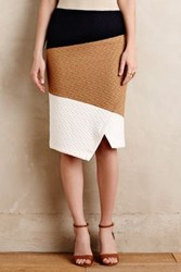 Anthropologie Colorblocked Knit Pencil Skirt Camel