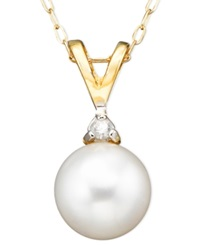 Belle De Mer Pearl Cultured Freshwater Pearl 6 1 2Mm And Diamond Accent Pendant Necklace In 14K Gold
