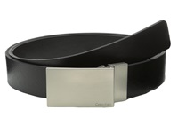 Calvin Klein 32Mm Reversible Flat Strap Plaque Buckle W Logo Black Black Men's Belts
