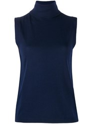 Allude Roll Neck Tank Top Blue