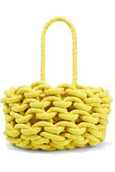 Alienina Woven Cotton Bucket Bag Yellow