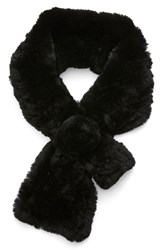 Women's Dena Genuine Rex Rabbit Fur Pull Through Scarf Black