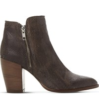 Dune Pia Reptile Embossed Leather Ankle Boots Taupe Reptile