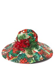 Dolce And Gabbana Geranium Embellished Wide Brim Cotton Hat Red