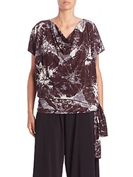 Issey Miyake Alocasia Print Short Sleeve Jersey Top Grey Multi