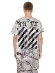 Off White Marble Print Cotton Jersey Long T Shirt