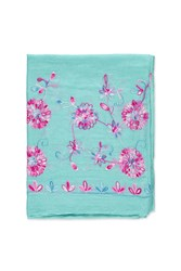 Forever 21 Floral Embroidery Oblong Scarf Aqua Multi