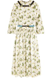 Toga Belted Floral Print Satin Dress Off White Green