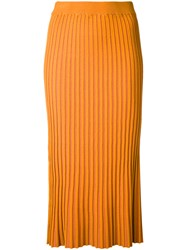 Le Ciel Bleu Knitted Pleated Skirt Yellow Orange