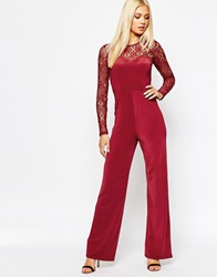 Missguided Flared Lace Jumpsuit Wine