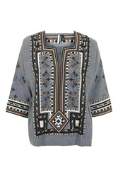 Topshop Embroidered Smock Top Multi