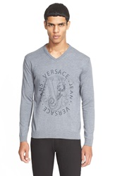 Versace Jeans Graphic V Neck Sweater Grey