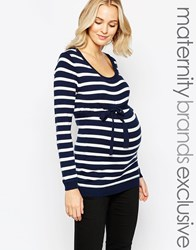 Mama Licious Mamalicious Long Sleeve Stripe Top Navy