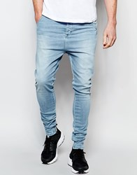 Sik Silk Siksilk Drop Crotch Skinny Jeans Stonewash Blue