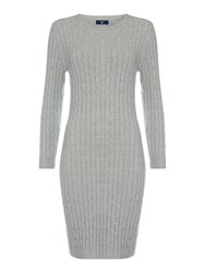 Gant Long Sleeve Stretch Cotton Cable Dress Light Grey