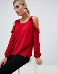 Ax Paris Red Cold Shoulder Blouse