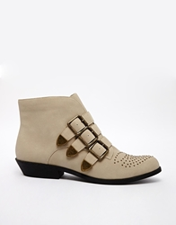 Chocolate Schubar Galiana Buckle Detail Flat Boots Stone