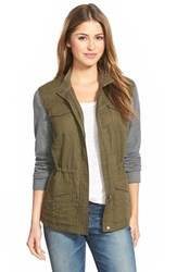 Women's Caslon Military Jacket With Knit Sleeves Olive Tuscan Black Colorblock