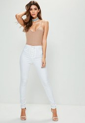 Missguided White High Waisted Lace Up Skinny Jeans