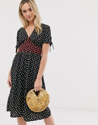Brave Soul Gracie Midi Dress With Mixed Floral Panel Black