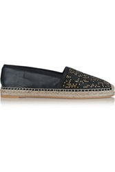 Rene Caovilla Crystal Embellished Leather Espadrilles