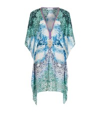 Elizabeth Hurley Beach Printed V Neck Short Kaftan Female Multi