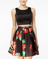 Sequin Hearts Juniors' 2 Pc. Floral Print A Line Dress Black