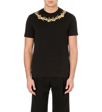 Givenchy Gold Crown Neck T Shirt Black