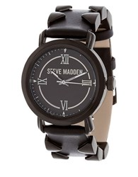 Steve Madden Pyramid Leather Strap Quartz Chronograph Black