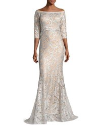 Jovani 3 4 Sleeve Lace Off The Shoulder Mermaid Gown Light Blue Nude Light Blue Nude