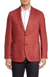 Flynt Men's Big And Tall Classic Fit Suede Trim Jersey Sport Coat Red