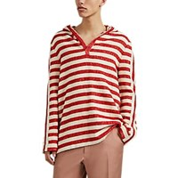 Martin Grant Striped Tweed Popover Hoodie Red