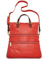 Fossil Explorer Leather Tote Real Red