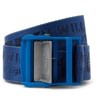 Off White 3Cm Blue Industrial Logo Jacquard Webbing Belt Blue